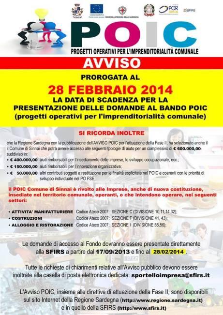 Progetti Operativi per l'Imprenditorialità Comunale: proroga scadenza bando al 28 febbraio 2014.