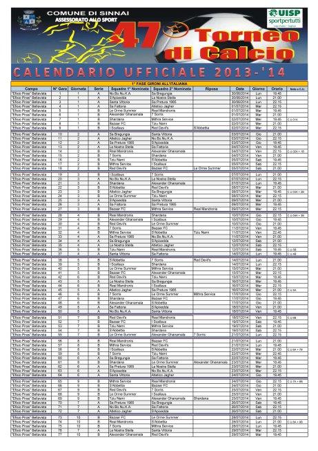 SINNAI 2014 - calendario definitivo